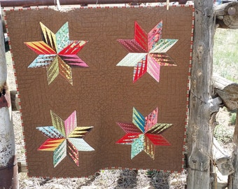 Baby Quilt, Small Quilt, Baby Room Decor, Art Quilt, Quilted Wall Hanging, Colorful Art Quilt, Baby Blanket, Baby Shower Gift, Brown quilt