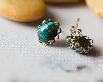 CLEARANCE - River Goddess Turquoise Silver Stud Earrings - December Birthstone - Bohemian, Vintage, Lace Bezel, Yugen - Wild Heart