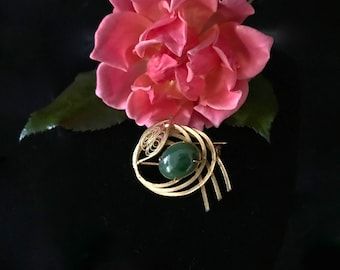 on sale gemstone jewelry sale Jade oval cabochon filigree gold finish brooch pin mid century