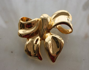 Vintage 80s Big bow brooch gold tone pin large classic statement brooch Costume Jewelry  gift for her