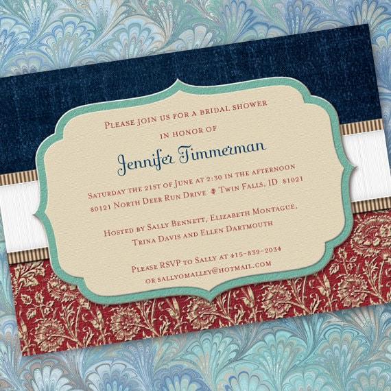bridal shower invitations, Americana party, Veteran retirement invitation, American wedding, red white and blue wedding, IN200