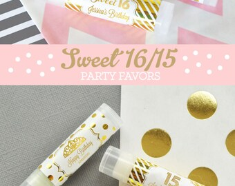 Sweet Sixteen Favors Sweet 16 Party Favors Quinceanera Favors Quinceanera Gift Favors Sweet 16 Lip Balm (EB3031FY) - 16| pcs