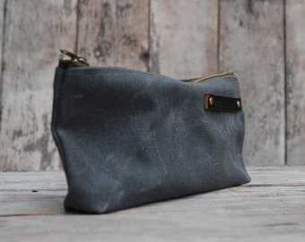 Waxed Canvas Pouch Medium Slate Grey Pencil Case Bag Cosmetic Case Makeup Bag Zipper Pouch Birthday Gift Monogram Bag Fathers Day Gift Men