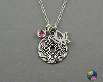Mandala Necklace - Silver Charm Necklace, zen jewelry, boho jewelry, gift, lotus, mandala jewelry, gemstone necklace