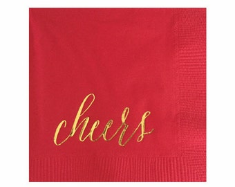 4th of July Decor - Cheers Napkins - Gold Foil Napkins - Set of 20