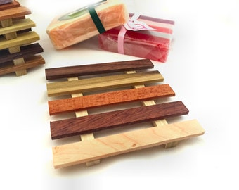 8 XL Reclaimed Wood Thin Soap Dish - 4x4 soap dish made of a wide variety of reclaimed wood types 1.25 each