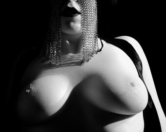 Artistic nude portrait of a woman with a chain mask and black lipstick High contrast black and white print Wall art - The Chain Queen - 10