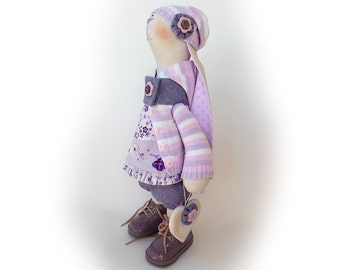 "Emily Easter bunny doll Stuffed toy Rabbit OOAK doll collectible toy 18"" 46cm Rabbit Handmade Big soft toy Gift Cloth doll Bunny tilda lilac"