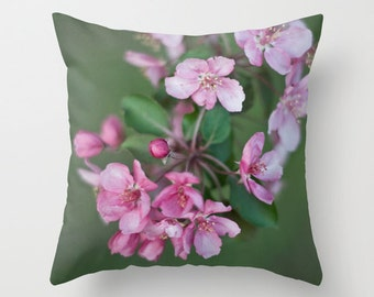 Spring Pillow Cover, Pink Blossoms Cushion Case, French Cottage Chic, Floral Bedroom Accent, Victorian Decor, Shabby Elegance, Botanical Art