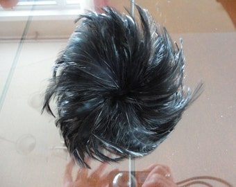 Vintage Black Feathers Cluster Milinery 60's Gorgeous!!