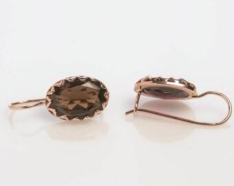 Oval Gold Topaz Earrings - Gold Oval Earrings - Smoky Topaz Earrings - Rose Gold Topaz Earrings - Gold Earrings with Gemstone