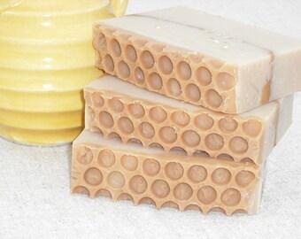 Oatmeal, Milk, and Honey Goats Milk Soap / Honey Comb Design / Cold Process Handmade Soap