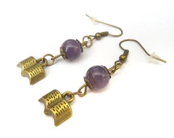 Amethyst books earrings