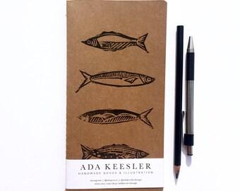 Travel Notebook, Travel Journal, Travel Sketchbook, Traveler Journal, Traveler Gift, Fish Notebook, Explorer Journal, Midori Insert Notebook