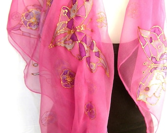 "Hand Painted Silk Scarf, Butterflies, Salmon Pink Purple Blue , 35"" Square Silk Chiffon Scarf, Gift For Her"