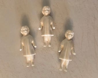 Miniature Mini Vintage Style Glazed Plastic Dolls Girls Craft Supplies Art