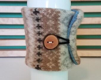 Wool Coffee Cardigan - Tea Cozy - Coffee Sleeve - Eco-Friendly - Reusable - Cream/Tan/Brown/Grey