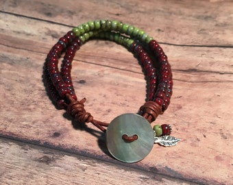 Picasso Beads Bracelet, Picasso Glass Bead and Leather Bracelet, Red and Green Bracelet, Wrap Bracelet
