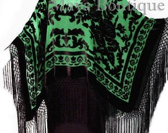 Maya Matazaro Green & Black Silk Burnout Velvet Poncho Shawl Top With Fringes
