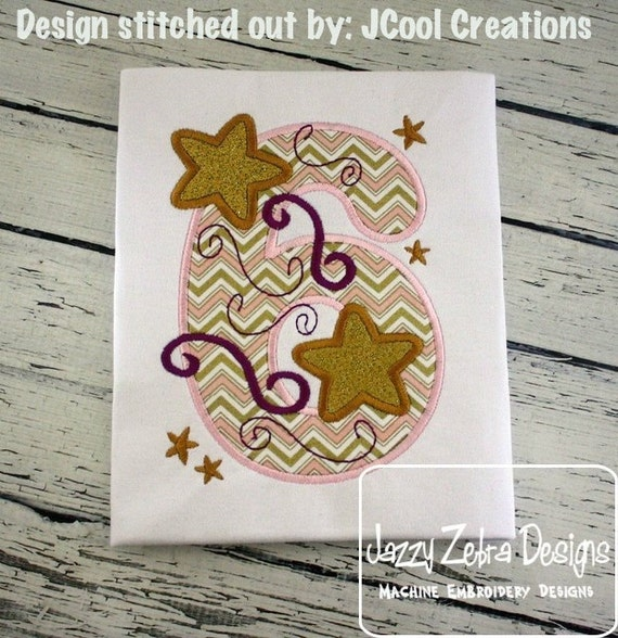 Six Stars Applique embroidery Design - 6th birthday appliqué design - sixth birthday appliqué design - birthday appliqué - star appliqué