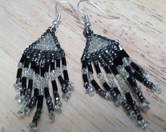 Silver and black seed bead earrings