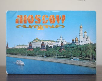 Folder with a 13 postcards set representing Moscow's buildings, during the USSR era.