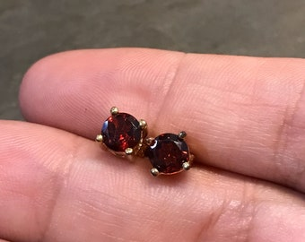 Vintage gold over sterling silver earrings, solid 925 silver studs with square shaped Ruby, stamped 925