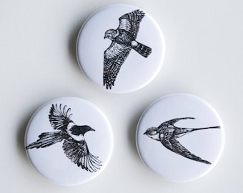 """Swallow, Magpie, Falcon Pins - In Flight Pin-Back Buttons - Set of 3 Pin-Back Buttons - 1.5"""" - Woodland pin Animal pin Pingame Badges Birds"""