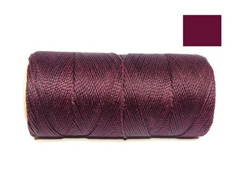 Eggplant Waxed Polyester Cord Macrame Cord spool of 188 yards