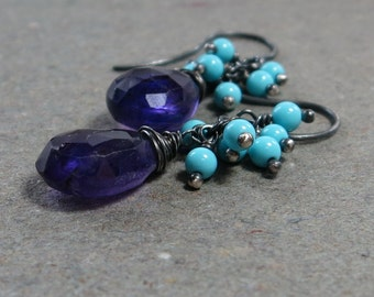 Purple Amethyst Earrings Turquoise Cluster Oxidized Sterling Silver Gift for Her