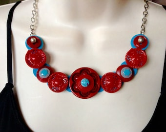 Turquoise and Red button necklace