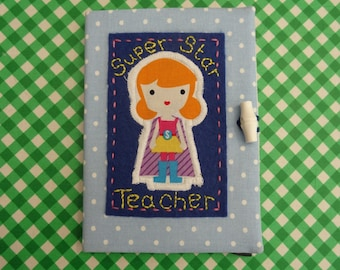 Fantastic Teacher Gift!  Handmade A6 Reusable Notebook Cover, complete with lined notebook.