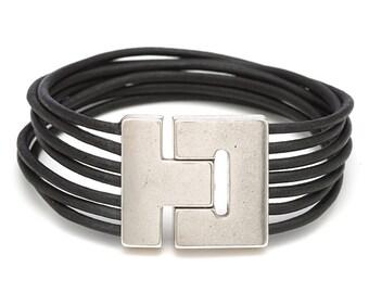 Black Leather Wrap Bracelet for Men or Women, Magnetic Clasp