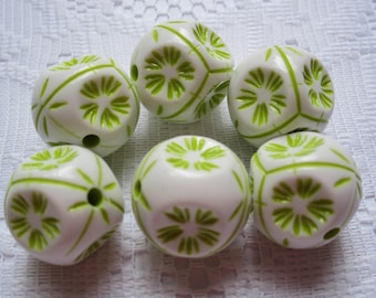 6 White & Lime Green Etched 6 Sided Acrylic Hexagon Beads  20mm