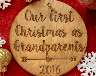 Our First Christmas as Grandparents Ornament - Personalized Wood Ornament, Grandparent Gift, First Grandchild, Pregnancy Announcement, Gifts