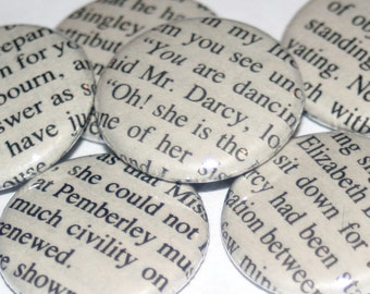 Pride and Prejudice Magnet Set / Jane Austen / Mr Darcy / Book Lover Gift / Literary Magnets / Bookish Gift / Book Club Gift Idea
