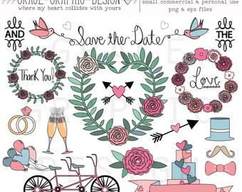 DOODLE WEDDING CLIPART, small commercial use wedding digital illustration set, hand drawn wedding clipart doodles
