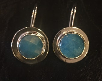 Round Faceted Turquoise Filled Sterling Silver Dangle Earrings