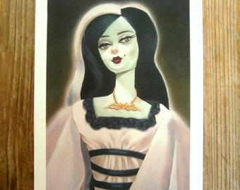 RESERVE DOUG Print vintage barbie / lily munster retro spooky!