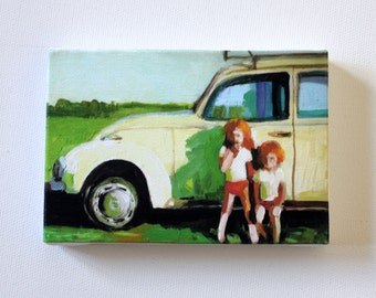 Infront of the sun / Tiny canvas print -car -children -memory -retro - summer -grass -sky -CANVAS ART PRINT -wall hanging