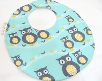 Boutique Bib for Baby or Toddler Boy or Girl - Sweet Baby Owls, Neutral Modern Essentials - Cotton Bib