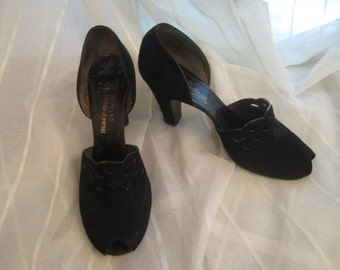 Pair of Vintage Black Kid Suede D'Orsay Open Toe Pumps, Mademoiselle Shoes by Carlisle, ca 1930s