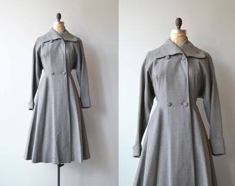 Eiffel Tower coat | 1950s grey princess coat | gabardine wool 1950s coat