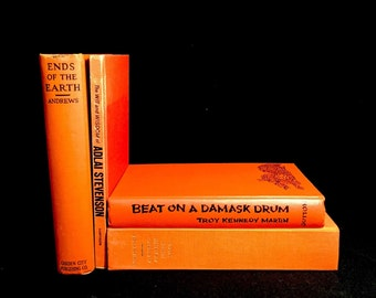 Vintage Book Collection in Shades of Orange