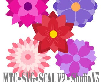 SVG Cut File Flower Set 01 Multi Layered Bundle of 5 Cameo Cricut SCAL MTC Cutting File Instant Download