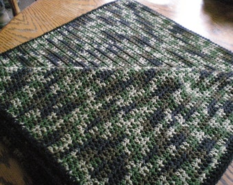 Camouflage Baby Blanket/Crocheted Camo Baby Blanket/Multi Color Crocheted Baby Blanket/Camouflage Baby Afghan/Green Camo Baby Afghan/Boy