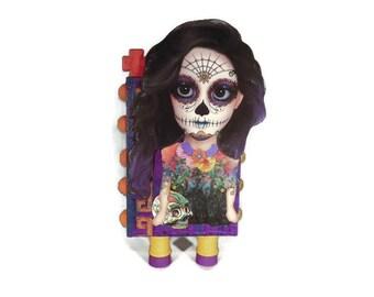 Sugar Skull ATB Artist Trading Block in Purple and Orange.
