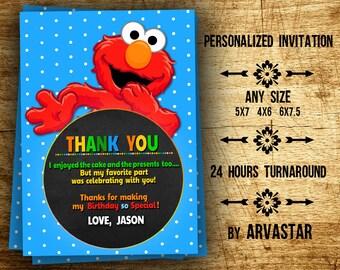 Elmo Thank You Card- Elmo Thanks Card-Boy Thank You Card-Personalized-Digital File