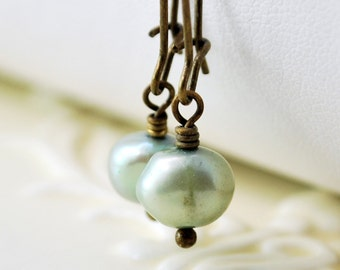 Mint Green Pearl Earrings, Antiqued Brass, Kidney Earwires, Genuine Freshwater, Simple, Wire Wrapped Jewelry, Free Shipping