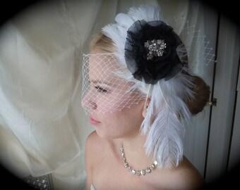 Feathered  Fascinator - Black & White Fascinator - Hair Fascinator - Bridal Fascinator - Hair Accessory
